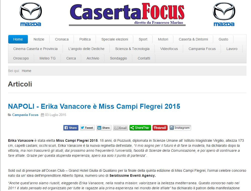 articolo finale Erika vanacore miss campi flegrei 2015 CASERTA FOCUS