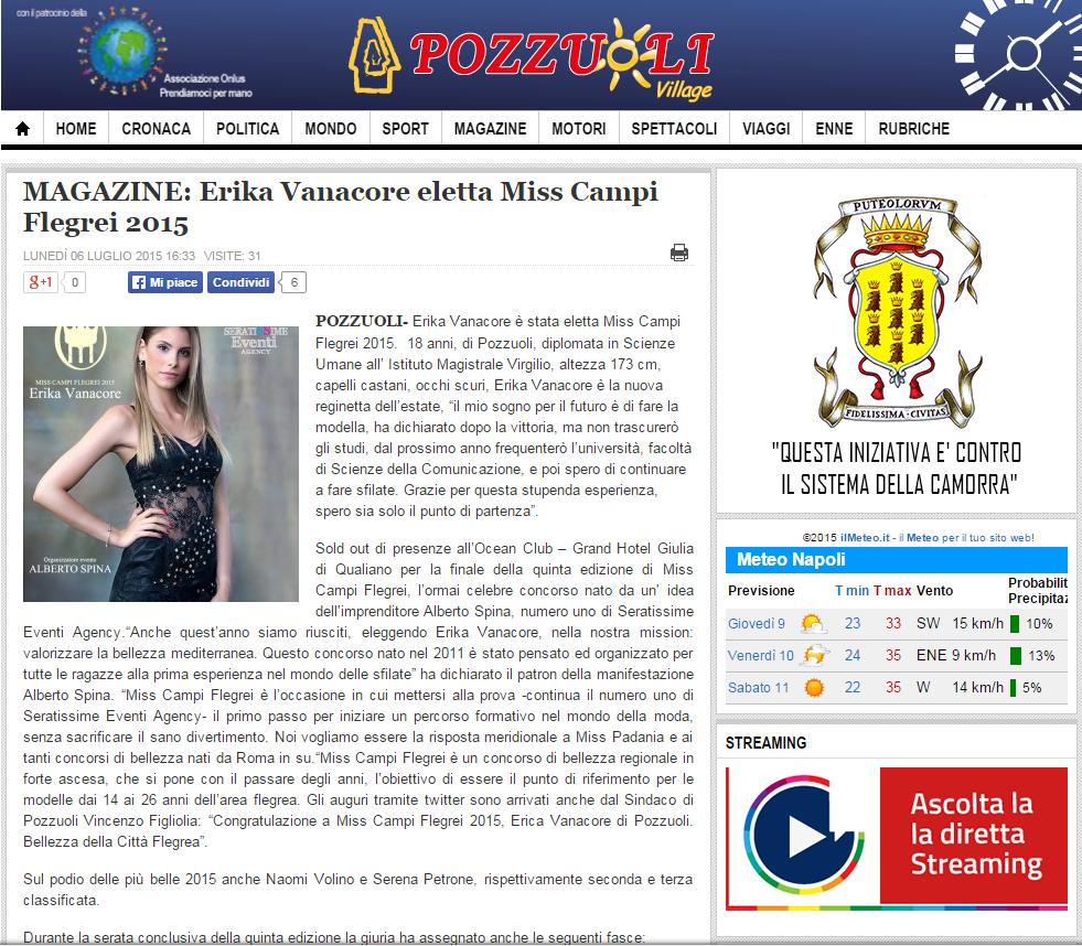 articolo finale Erika vanacore miss campi flegrei 2015  napoli village magazine